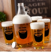 Personalized Printed Lumberjack Beard Growler Set