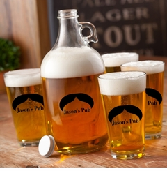Personalized Printed Mr. Big Mustache Growler Set