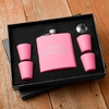 Matte Pink Flask & Shot Glass Gift Box Set - click to enlarge