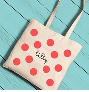 Polka Dots Girl Canvas Tote