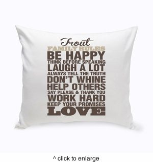 Rustic Family Rules Throw Pillow - click to enlarge