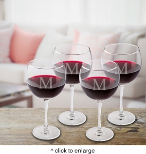 Set of 4 Personalized Red Wine Glasses - click to enlarge