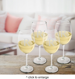 Set of 4 Personalized White Wine Glasses - click to enlarge