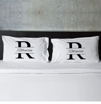 Stamped Design Couple's Pillow Case Set
