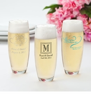 Stemless Printed Champaign Flutes