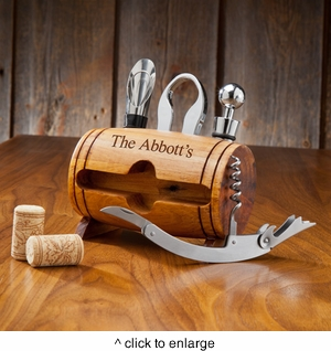 Personalized Wine Barrel Accessory Set - click to enlarge