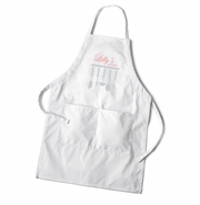 Women's White Apron - Utensils