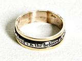 English love ring sterling silver and gold