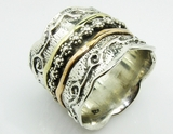 Floral silver gold ring spinner ring handcrafted in Israel