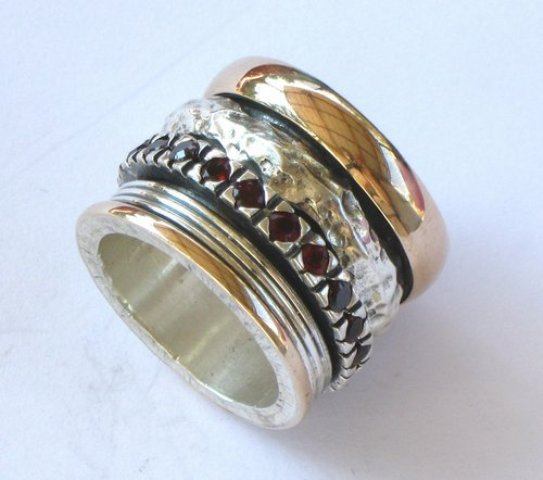 Garnets spinner ring wide band for women