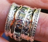 Hebrew ring, spinner ring, silver and 9K gold