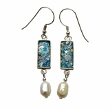 Roman glass dangling earrings w/ pearls