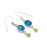 Roman Glass earrings with peridots