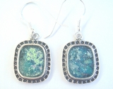 Roman glass sterling silver earrings israeli jewelry