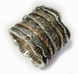 unique silver gold jewelry from israel - Wide Band Rings