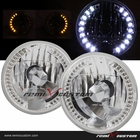 "Universal 7"" Round SMDx36 DRL White LED Headlights with Signal"