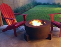 30 Inch Round Cor-Ten Steel Wood Burning Fire Pit with a Gas Ring
