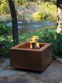 30 Inch Square Cor-Ten Steel Fire Pit - Wood Burning with a Gas Ring