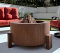 38 Inch  Round Cor-Ten Steel Fire Pit - Wood Burning with a Gas Ring