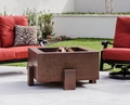 38 Inch Square Cor-Ten Steel Fire Pit Wood Burning with a Gas Ring