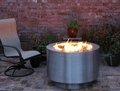 "38"" Round Stainless Steel Fire Pit - Wood Buring with a Gas Ring"
