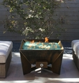 DeZen Cor-Ten Steel Fire Pit - Wood Burning with a Gas Ring
