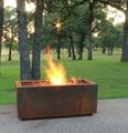 Rectangular Cor-Ten Steel Fire Pit - Wood Burning with a Gas Ring