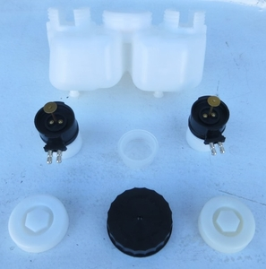 Brake master fluid reservoir container with caps and filter and sensors 0004316402 0014314202