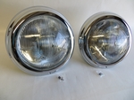 Pair of complete headlights with chrome trim for MERCEDES 190sl w121