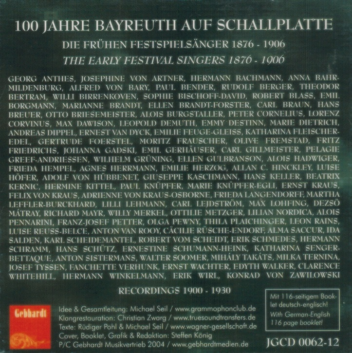 Bayreuth:  The Festival's Early Singers     (12-Gebhardt 0062)