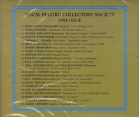 Vocal Record Collectors' Society - 1998 Issue          (VRCS 1998)