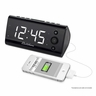 "Electrohome Alarm Clock Radio with USB Charging for Smartphones & Tablets includes Dual Alarm, Battery Backup, Auto Time Set & 1.2"" White LED Display with 4 Dimming Options (EAAC470W)"