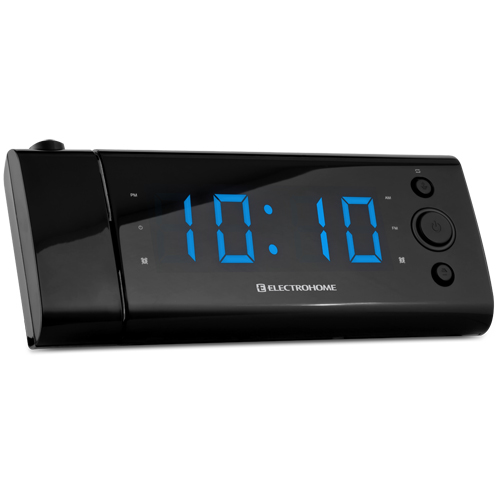 electrohome usb charging alarm clock radio with time projection battery bac. Black Bedroom Furniture Sets. Home Design Ideas