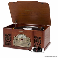 Electrohome Wellington Record Player Retro Vinyl Turntable Real Wood Stereo System, AM/FM Radio, CD, USB for MP3, Vinyl-to-MP3 Recording, Headphone Jack, & AUX Input for Smartphones & Tablets (EANOS502)