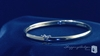 4mm Bangle Bracelet with .01 ct. Diamond in Sterling Silver, 7""