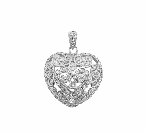 Antique Style CZ Silver Heart