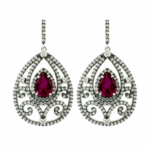 Antique Style Red Zirconia Silver Earrings