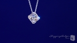 "Asscher Cut CZ Solitaire Pendant Necklace in Sterling Silver, Adjustable 16""-18"""
