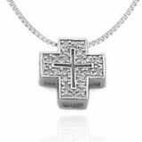 Romanesque Cross Pendant Necklace in Sterling Silver, 16-18""