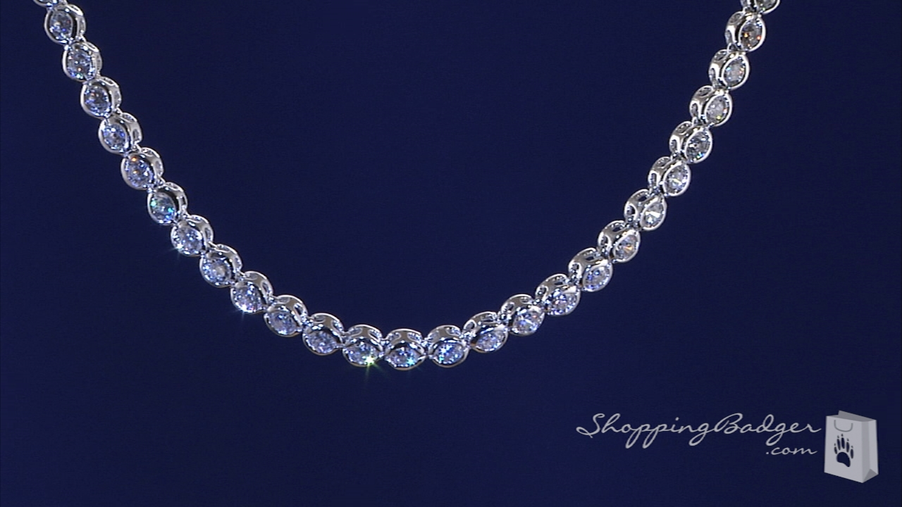 Bezel Set 3mm Cz Tennis Necklace In Sterling Silver