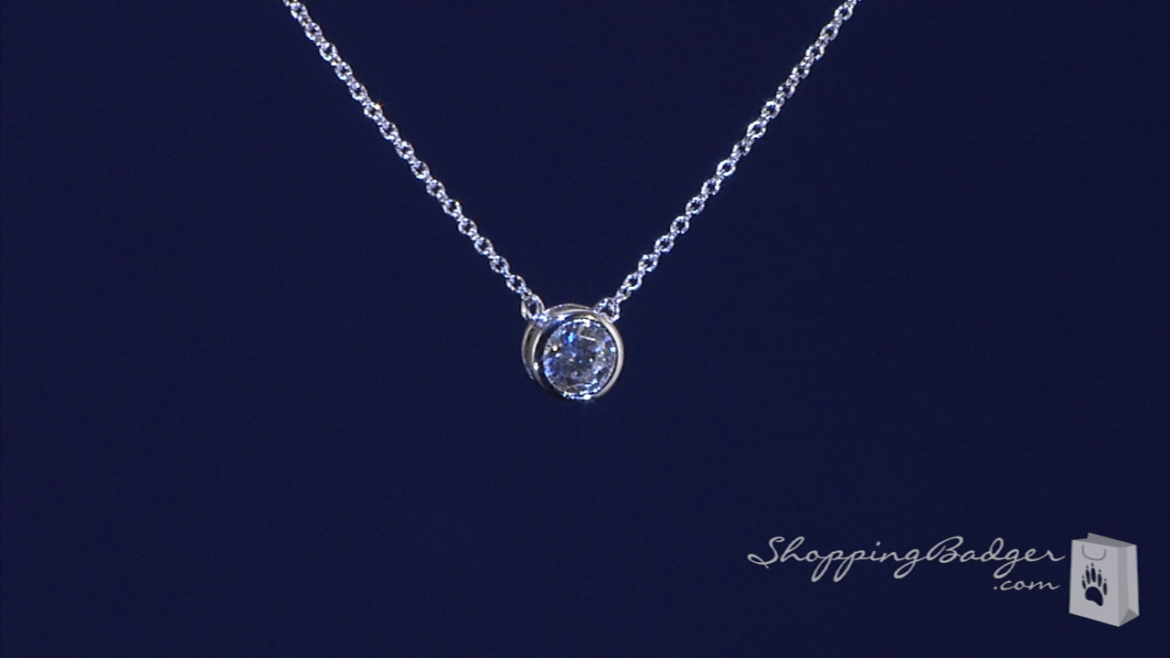 Bezel Set 6mm Diamond Cz Solitaire Necklace In Sterling