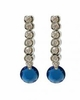 Bezel Set CZ and Blue Zirconia Earrings