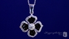 Black Enamel & Clear Crystal Flower Necklace in Sterling Silver