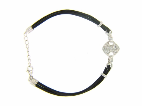 Black Leather and CZ Silver Bracelet