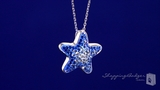 "Blue & White Crystal Star Pendant Necklace in Sterling Silver, 16"" or 18"""