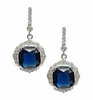 Blue Zirconia Dangling Silver Earrings