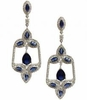 Blue Zirconia Silver Chandelier Earrings