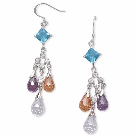 Briolette CZ Multi Color Euro Wire Earrings