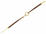 Brown Leather and Gold Plated Loop CZ Bracelet