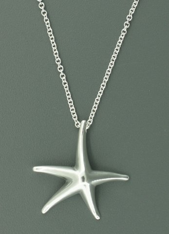 California Silver Starfish Necklace